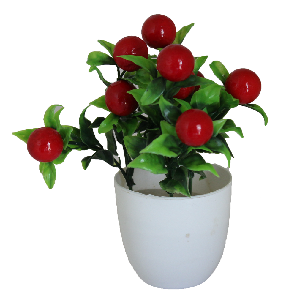 Red Artificial flower with green leaf and white Pot